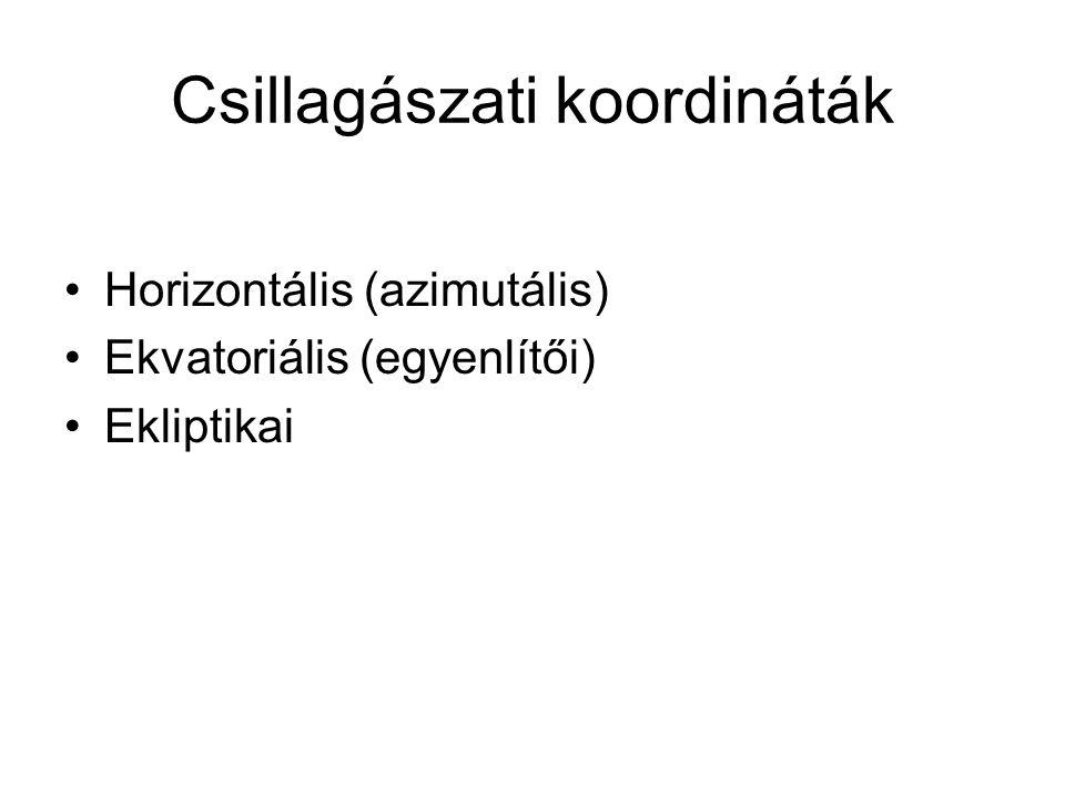 Csillagászati koordináták Horizontális (azimutális) Ekvatoriális (egyenlítői) Ekliptikai