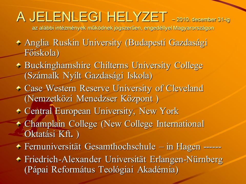 A JELENLEGI HELYZET – 2010. december 31-ig az alábbi intézmények működnek jogszerűen, engedéllyel Magyarországon Anglia Ruskin University (Budapesti G
