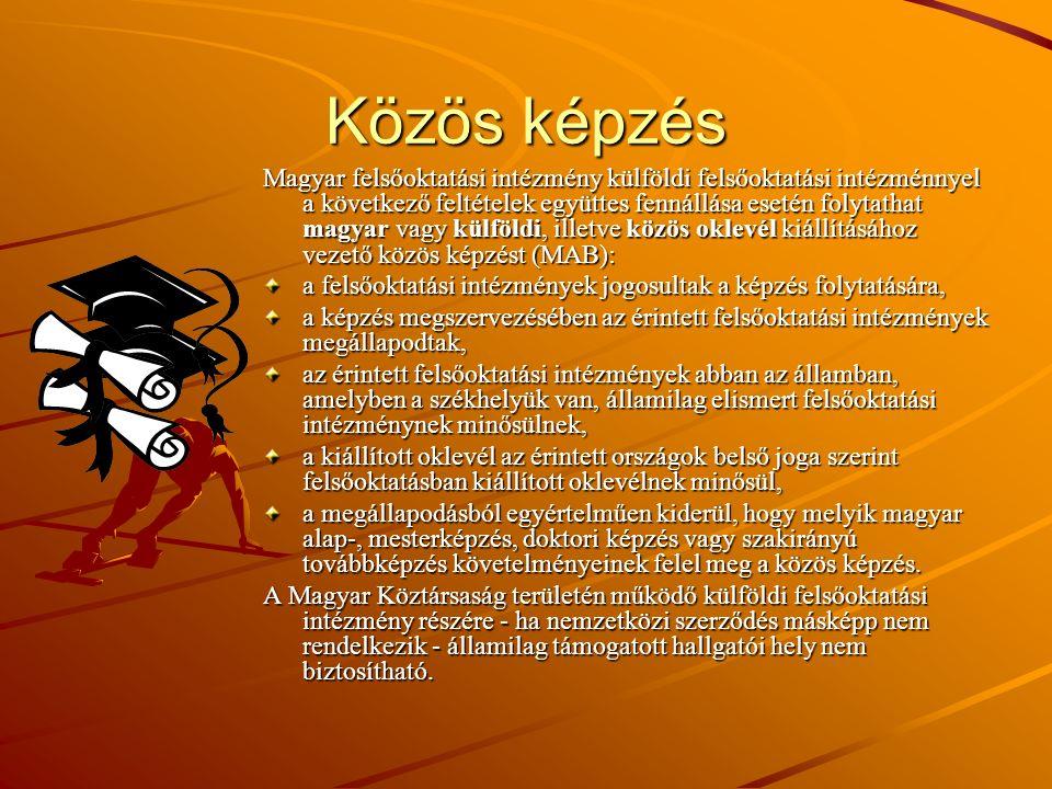 Közös képzés Magyar felsőoktatási intézmény külföldi felsőoktatási intézménnyel a következő feltételek együttes fennállása esetén folytathat magyar va