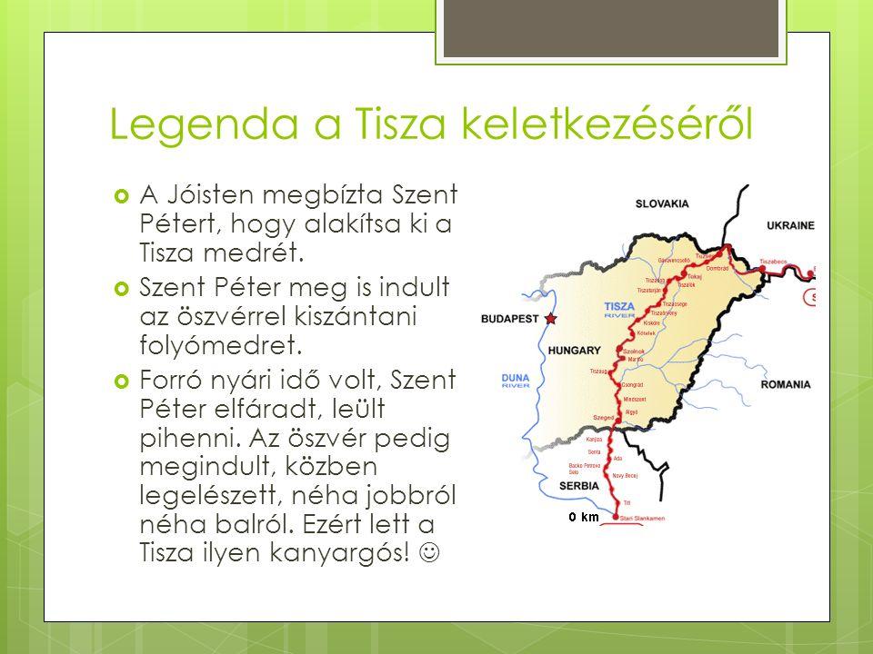 Legenda a Tisza keletkezéséről  A Jóisten megbízta Szent Pétert, hogy alakítsa ki a Tisza medrét.