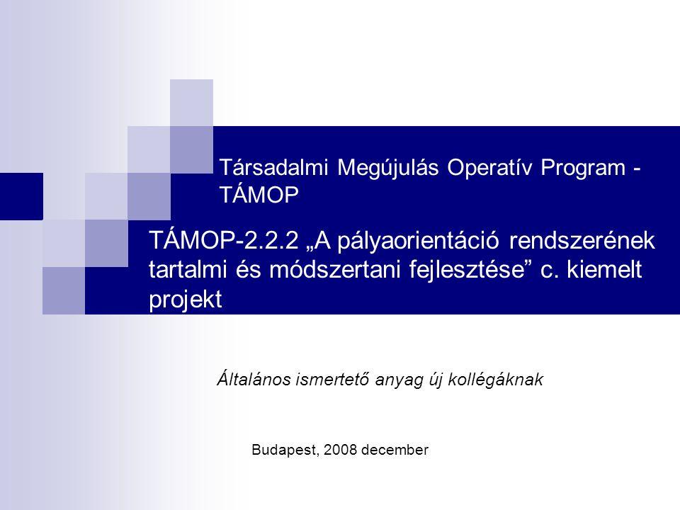 """Társadalmi Megújulás Operatív Program - TÁMOP TÁMOP-2.2.2 """"A pályaorientáció rendszerének tartalmi és módszertani fejlesztése c."""