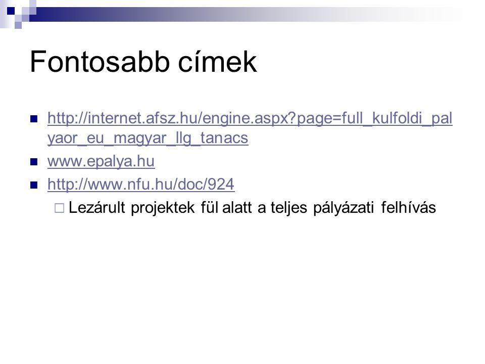 Fontosabb címek http://internet.afsz.hu/engine.aspx?page=full_kulfoldi_pal yaor_eu_magyar_llg_tanacs http://internet.afsz.hu/engine.aspx?page=full_kulfoldi_pal yaor_eu_magyar_llg_tanacs www.epalya.hu http://www.nfu.hu/doc/924  Lezárult projektek fül alatt a teljes pályázati felhívás