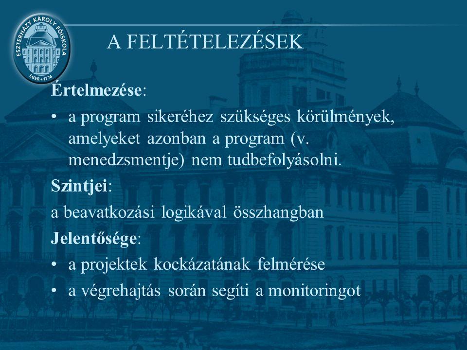 A FELTÉTELEZÉSEK Értelmezése: a program sikeréhez szükséges körülmények, amelyeket azonban a program (v.
