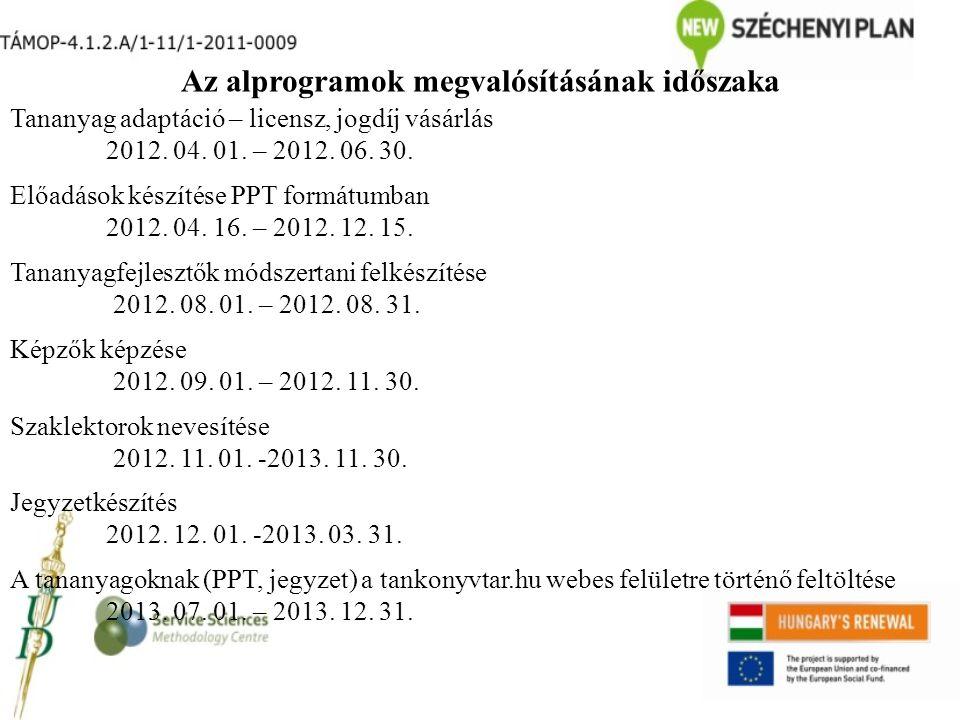 Az alprogramok megvalósításának időszaka Tananyag adaptáció – licensz, jogdíj vásárlás 2012. 04. 01. – 2012. 06. 30. Előadások készítése PPT formátumb