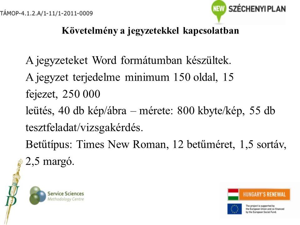 Követelmény a jegyzetekkel kapcsolatban A jegyzeteket Word formátumban készültek. A jegyzet terjedelme minimum 150 oldal, 15 fejezet, 250 000 leütés,