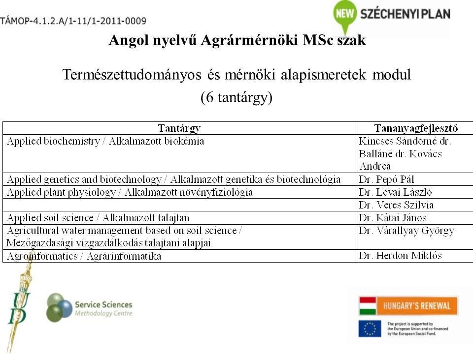 Angol nyelvű Agrármérnöki MSc szak Természettudományos és mérnöki alapismeretek modul (6 tantárgy)