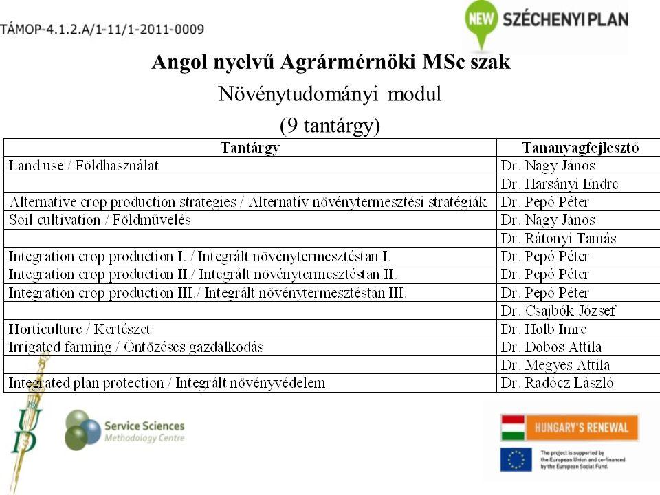 Angol nyelvű Agrármérnöki MSc szak Növénytudományi modul (9 tantárgy)
