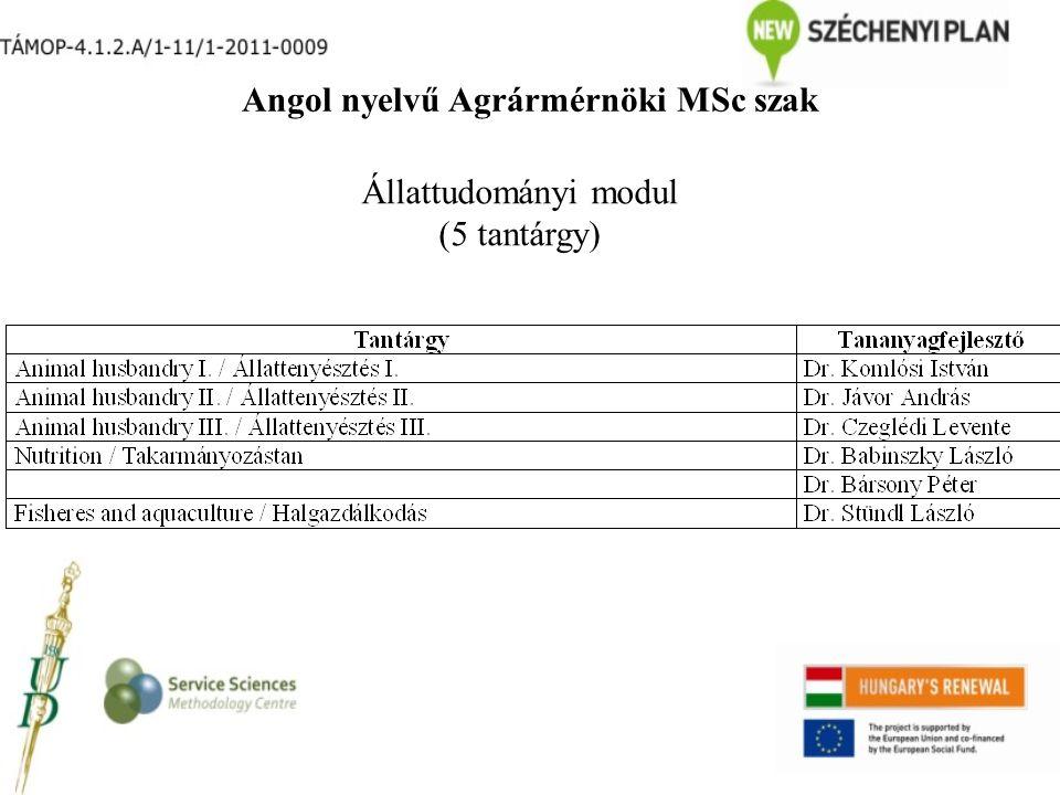 Angol nyelvű Agrármérnöki MSc szak Állattudományi modul (5 tantárgy)