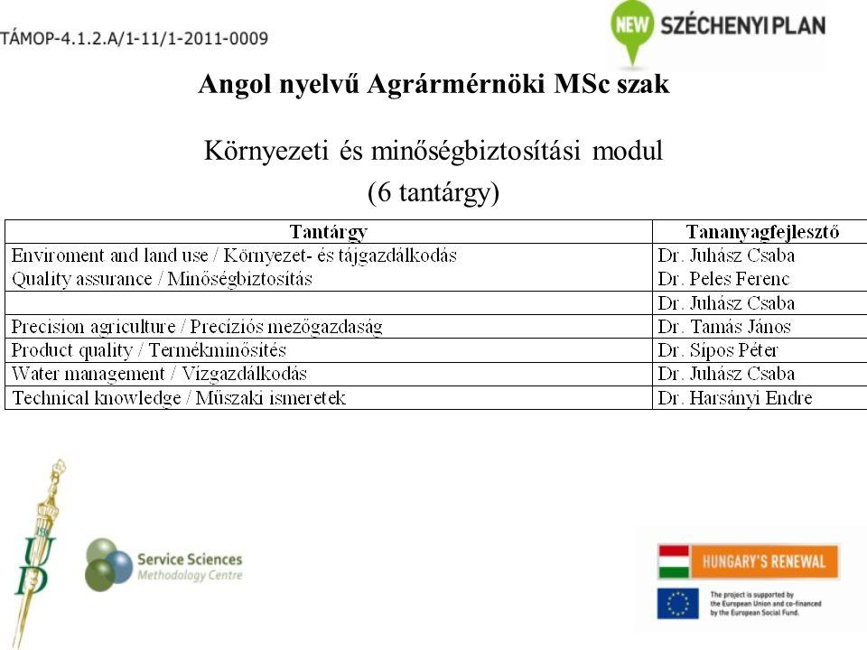 Angol nyelvű Agrármérnöki MSc szak Környezeti és minőségbiztosítási modul (6 tantárgy)