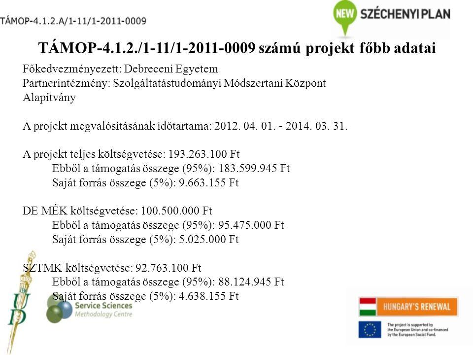 TÁMOP-4.1.2./1-11/1-2011-0009 számú projekt főbb adatai Főkedvezményezett: Debreceni Egyetem Partnerintézmény: Szolgáltatástudományi Módszertani Központ Alapítvány A projekt megvalósításának időtartama: 2012.