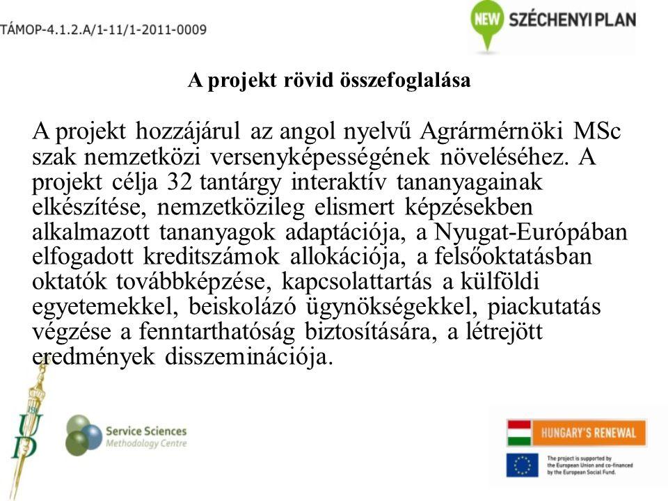 A projekt rövid összefoglalása A projekt hozzájárul az angol nyelvű Agrármérnöki MSc szak nemzetközi versenyképességének növeléséhez. A projekt célja