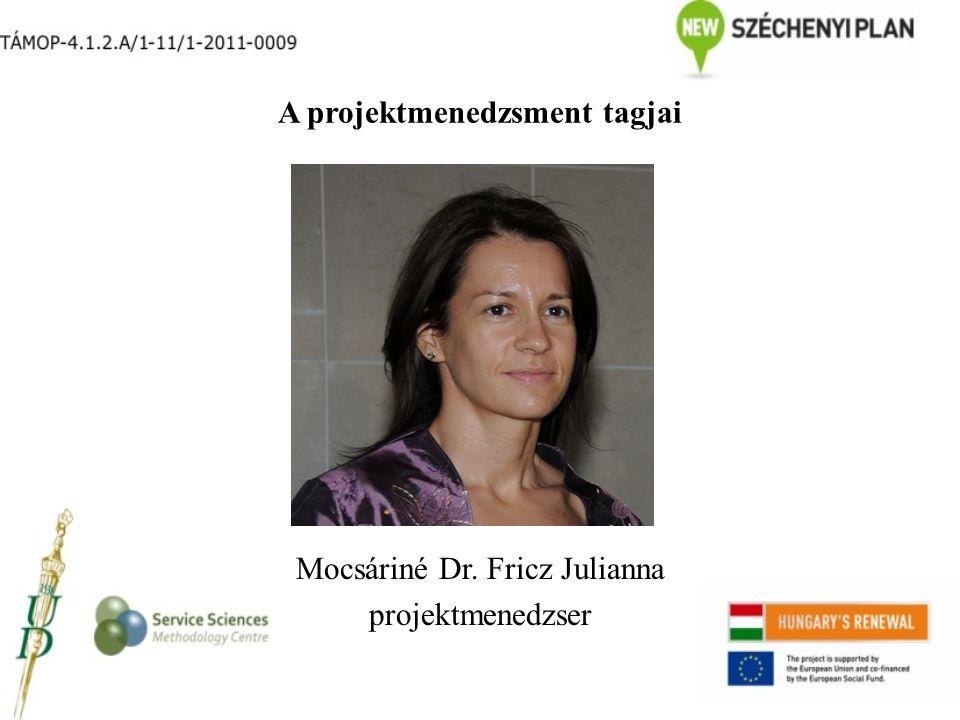 A projektmenedzsment tagjai Mocsáriné Dr. Fricz Julianna projektmenedzser