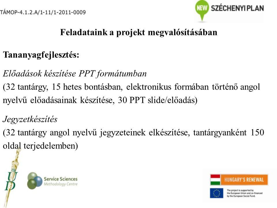 Feladataink a projekt megvalósításában Tananyagfejlesztés: Előadások készítése PPT formátumban (32 tantárgy, 15 hetes bontásban, elektronikus formában történő angol nyelvű előadásainak készítése, 30 PPT slide/előadás) Jegyzetkészítés (32 tantárgy angol nyelvű jegyzeteinek elkészítése, tantárgyanként 150 oldal terjedelemben)