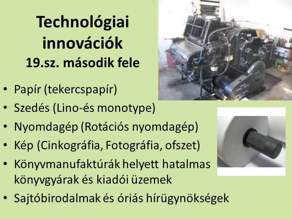 Technológiai innovációk 19.sz.