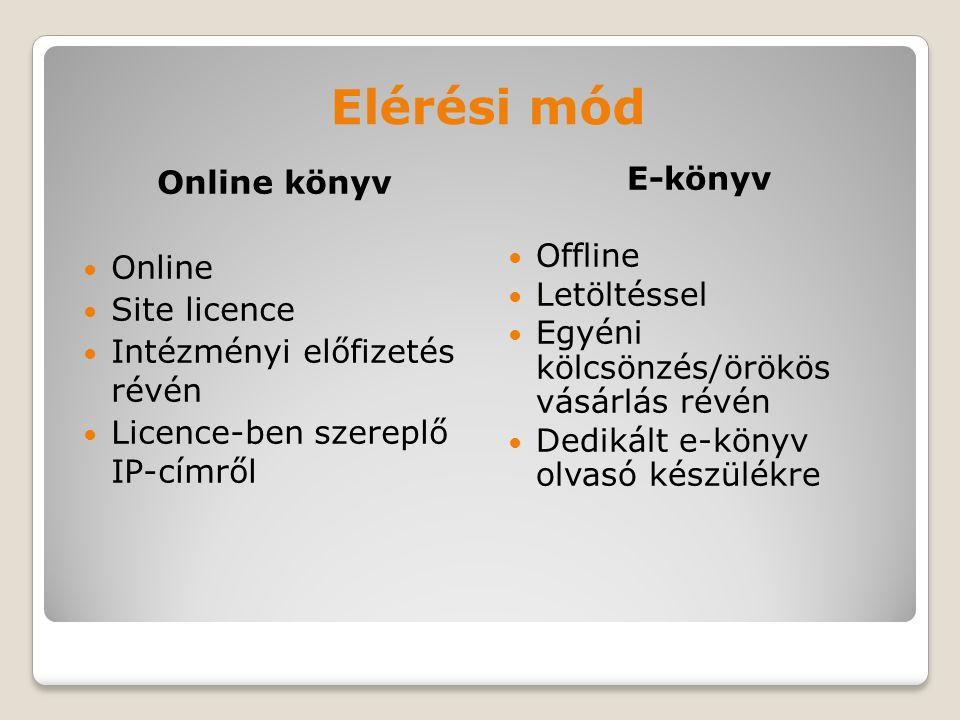 Elérési mód Online könyv Online Site licence Intézményi előfizetés révén Licence-ben szereplő IP-címről E-könyv Offline Letöltéssel Egyéni kölcsönzés/örökös vásárlás révén Dedikált e-könyv olvasó készülékre