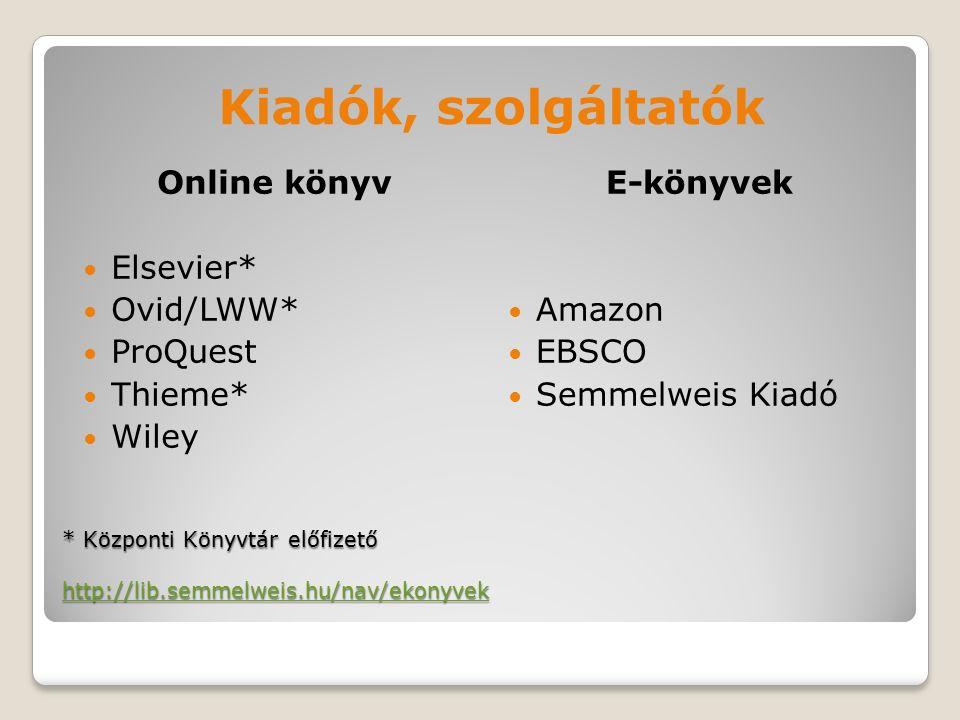 * Központi Könyvtár előfizető http://lib.semmelweis.hu/nav/ekonyvek http://lib.semmelweis.hu/nav/ekonyvek Kiadók, szolgáltatók Online könyv Elsevier* Ovid/LWW* ProQuest Thieme* Wiley E-könyvek Amazon EBSCO Semmelweis Kiadó