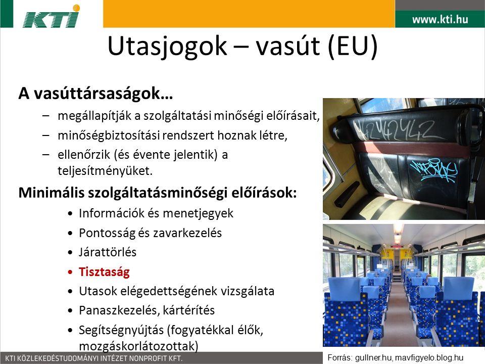 Utasjogok – vasút (EU) A vasúttársaságok… –megállapítják a szolgáltatási minőségi előírásait, –minőségbiztosítási rendszert hoznak létre, –ellenőrzik (és évente jelentik) a teljesítményüket.