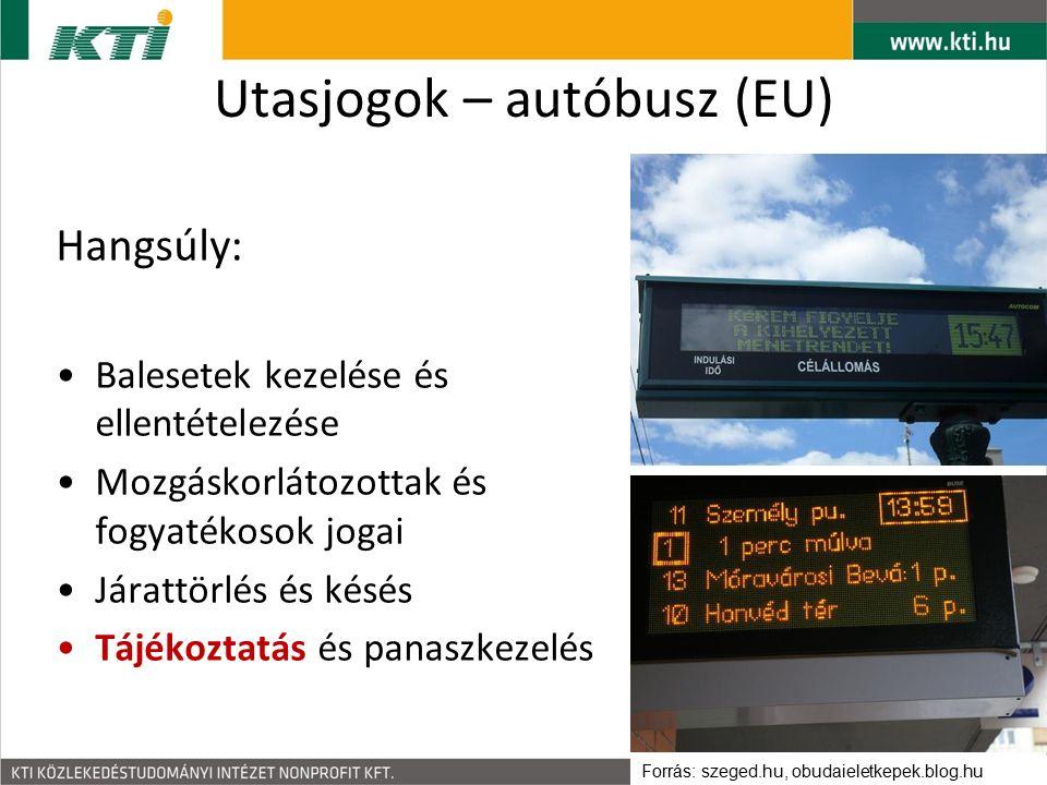 Utasjogok – autóbusz (EU) Hangsúly: Balesetek kezelése és ellentételezése Mozgáskorlátozottak és fogyatékosok jogai Járattörlés és késés Tájékoztatás és panaszkezelés Forrás: szeged.hu, obudaieletkepek.blog.hu