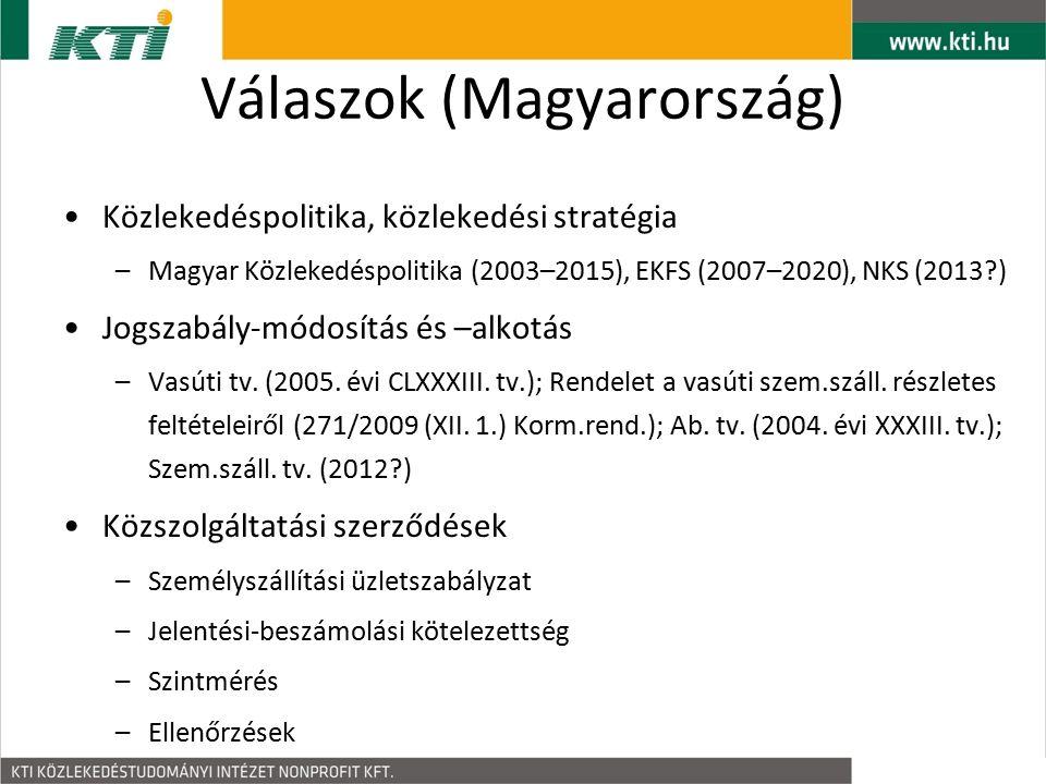 Válaszok (Magyarország) Közlekedéspolitika, közlekedési stratégia –Magyar Közlekedéspolitika (2003–2015), EKFS (2007–2020), NKS (2013 ) Jogszabály-módosítás és –alkotás –Vasúti tv.