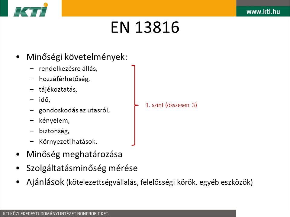 EN 13816 Minőségi követelmények: –rendelkezésre állás, –hozzáférhetőség, –tájékoztatás, –idő, –gondoskodás az utasról, –kényelem, –biztonság, –Környezeti hatások.