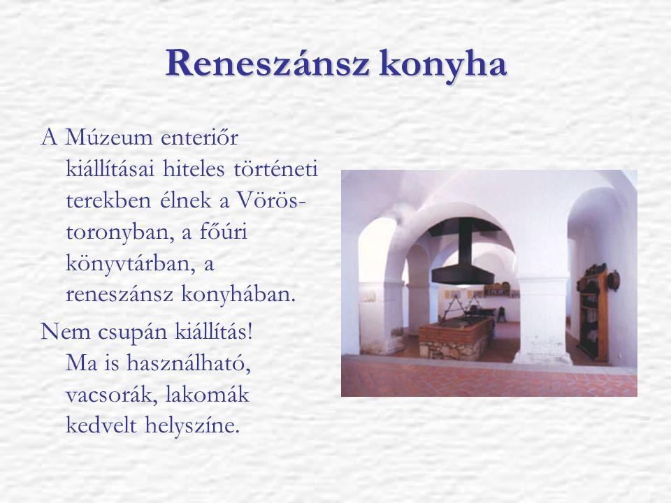 Reneszánsz konyha A Múzeum enteriőr kiállításai hiteles történeti terekben élnek a Vörös- toronyban, a főúri könyvtárban, a reneszánsz konyhában. Nem
