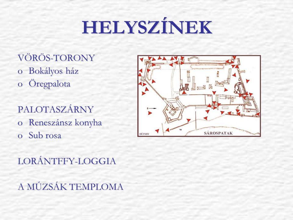 HELYSZÍNEK VÖRÖS-TORONY oBokályos ház oÖregpalota PALOTASZÁRNY oReneszánsz konyha oSub rosa LORÁNTFFY-LOGGIA A MÚZSÁK TEMPLOMA