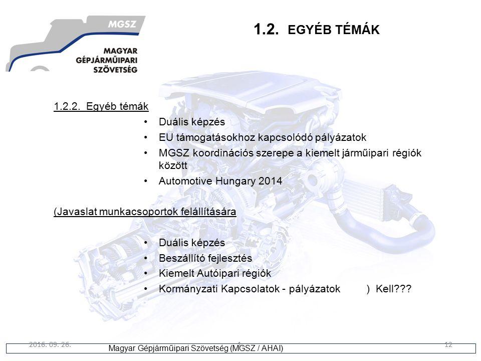 12 Magyar Gépjárműipari Szövetség (MGSZ / AHAI) 2016. 09. 26.1.12 1.2. EGYÉB TÉMÁK 1.2.2. Egyéb témák Duális képzés EU támogatásokhoz kapcsolódó pályá