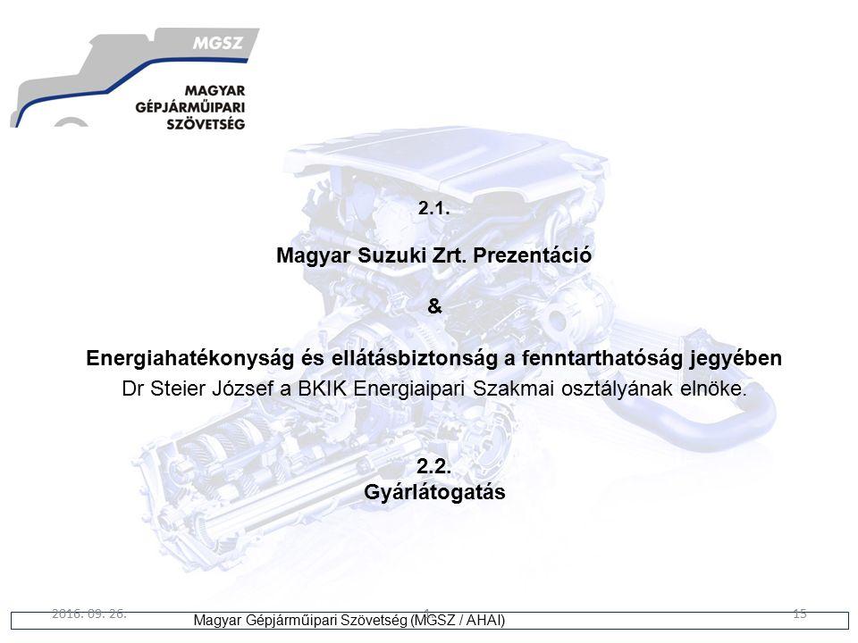 15 Magyar Gépjárműipari Szövetség (MGSZ / AHAI) 2016. 09. 26.1.15 2.1. Magyar Suzuki Zrt. Prezentáció & Energiahatékonyság és ellátásbiztonság a fennt