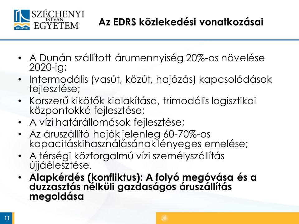 Az EDRS közlekedési vonatkozásai A Dunán szállított árumennyiség 20%-os növelése 2020-ig; Intermodális (vasút, közút, hajózás) kapcsolódások fejlesztése; Korszerű kikötők kialakítása, trimodális logisztikai központokká fejlesztése; A vízi határállomások fejlesztése; Az áruszállító hajók jelenleg 60-70%-os kapacitáskihasználásának lényeges emelése; A térségi közforgalmú vízi személyszállítás újjáélesztése.