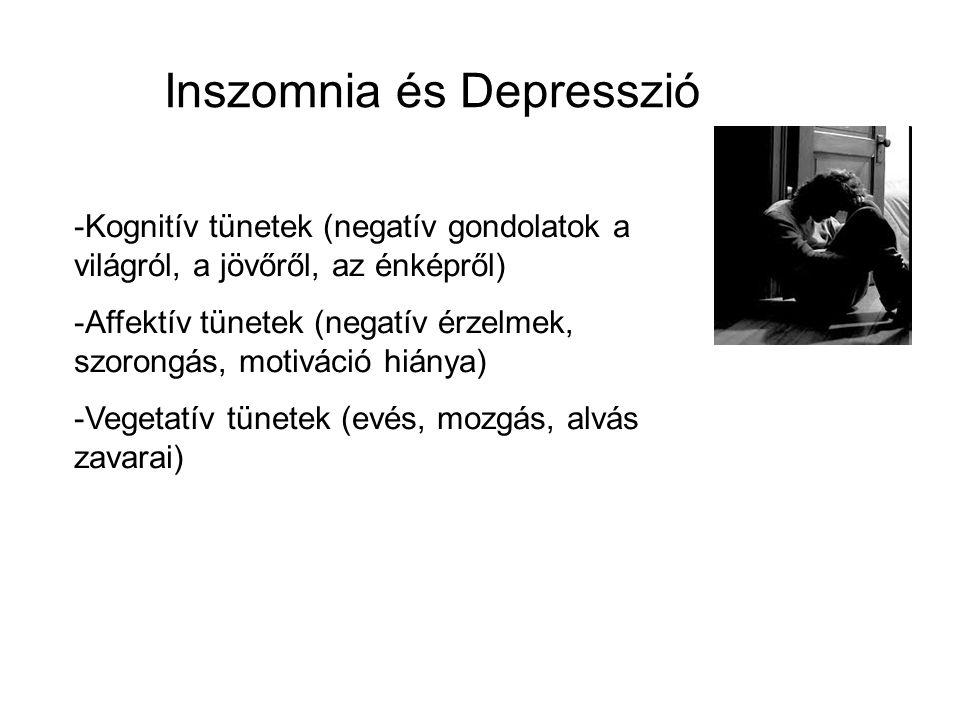 Inszomnia és Depresszió -Kognitív tünetek (negatív gondolatok a világról, a jövőről, az énképről) -Affektív tünetek (negatív érzelmek, szorongás, motiváció hiánya) -Vegetatív tünetek (evés, mozgás, alvás zavarai)