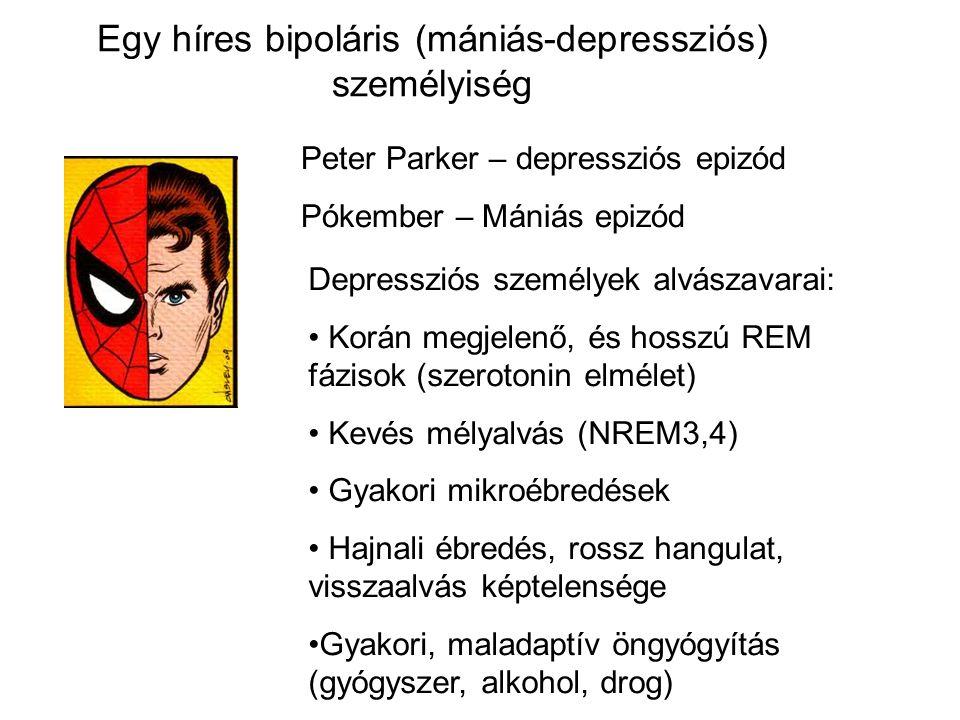 Egy híres bipoláris (mániás-depressziós) személyiség Peter Parker – depressziós epizód Pókember – Mániás epizód Depressziós személyek alvászavarai: Korán megjelenő, és hosszú REM fázisok (szerotonin elmélet) Kevés mélyalvás (NREM3,4) Gyakori mikroébredések Hajnali ébredés, rossz hangulat, visszaalvás képtelensége Gyakori, maladaptív öngyógyítás (gyógyszer, alkohol, drog)