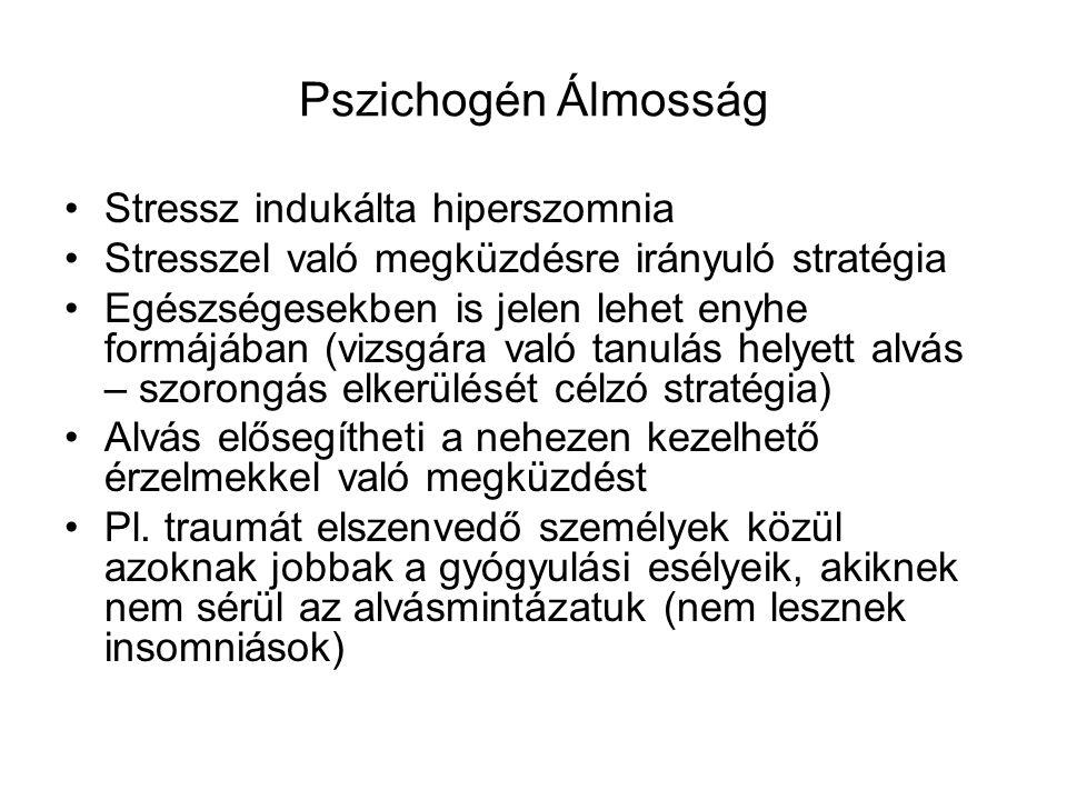 Pszichogén Álmosság Stressz indukálta hiperszomnia Stresszel való megküzdésre irányuló stratégia Egészségesekben is jelen lehet enyhe formájában (vizsgára való tanulás helyett alvás – szorongás elkerülését célzó stratégia) Alvás elősegítheti a nehezen kezelhető érzelmekkel való megküzdést Pl.