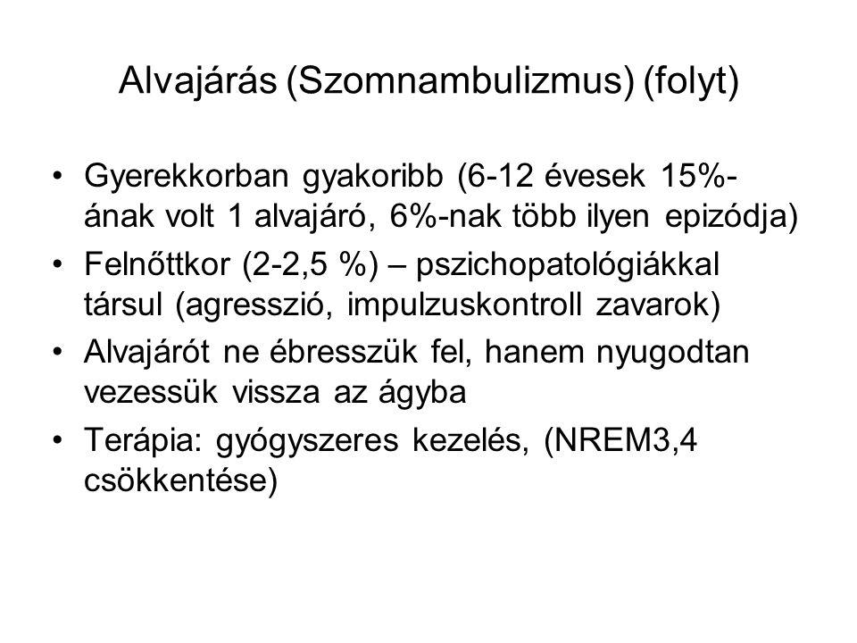 Alvajárás (Szomnambulizmus) Alvajárás NREM mélyebb stádiumában keletkezik Hibrid állapot: Mélyen alvó agy vs.