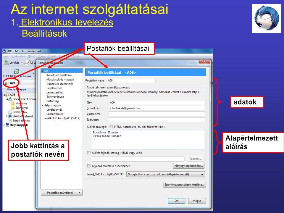 Az internet szolgáltatásai 1. Elektronikus levelezés címtár Címjegyzék