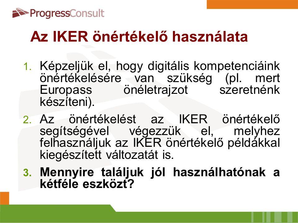 Az IKER önértékelő használhatósága  Saját digitális kompetencia felmérése, értékelése  Egyéni tanulási célok kijelölése  Képzési programok közötti választás  Europass önéletrajz kitöltése  …