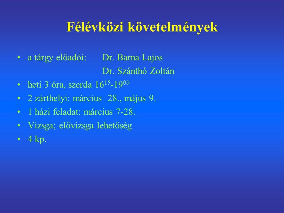 Félévközi követelmények a tárgy előadói: Dr. Barna Lajos Dr.