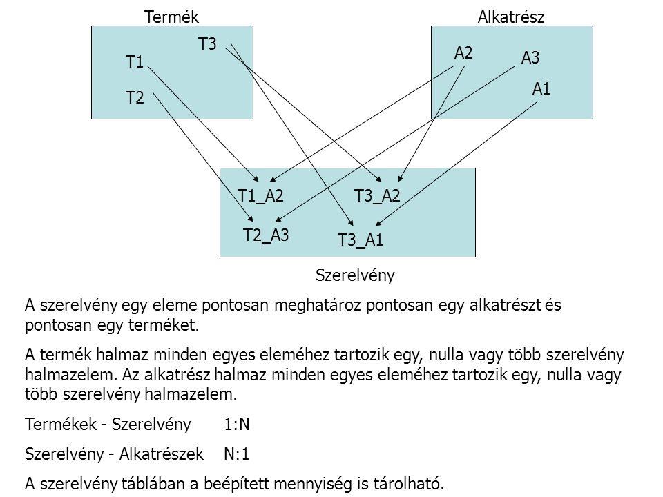 TermékAlkatrész T1 T2 T3 A1 A2 A3 T1_A2 T2_A3 T3_A2 T3_A1 Szerelvény A szerelvény egy eleme pontosan meghatároz pontosan egy alkatrészt és pontosan eg