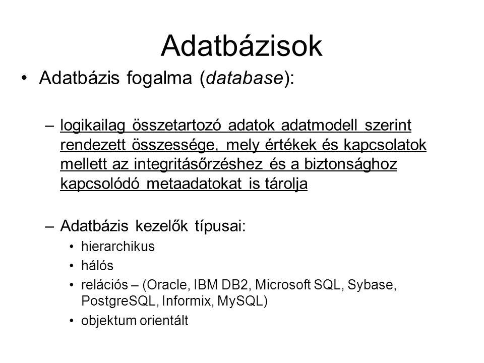 Adatbázisok Adatbázis fogalma (database): –logikailag összetartozó adatok adatmodell szerint rendezett összessége, mely értékek és kapcsolatok mellett