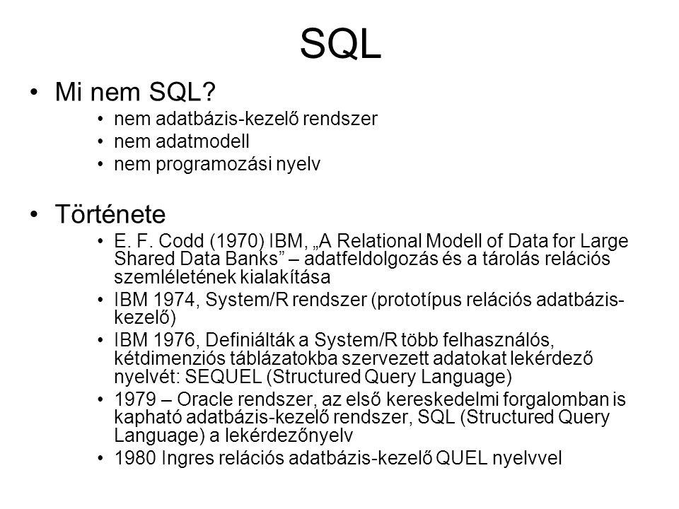 """SQL Mi nem SQL? nem adatbázis-kezelő rendszer nem adatmodell nem programozási nyelv Története E. F. Codd (1970) IBM, """"A Relational Modell of Data for"""