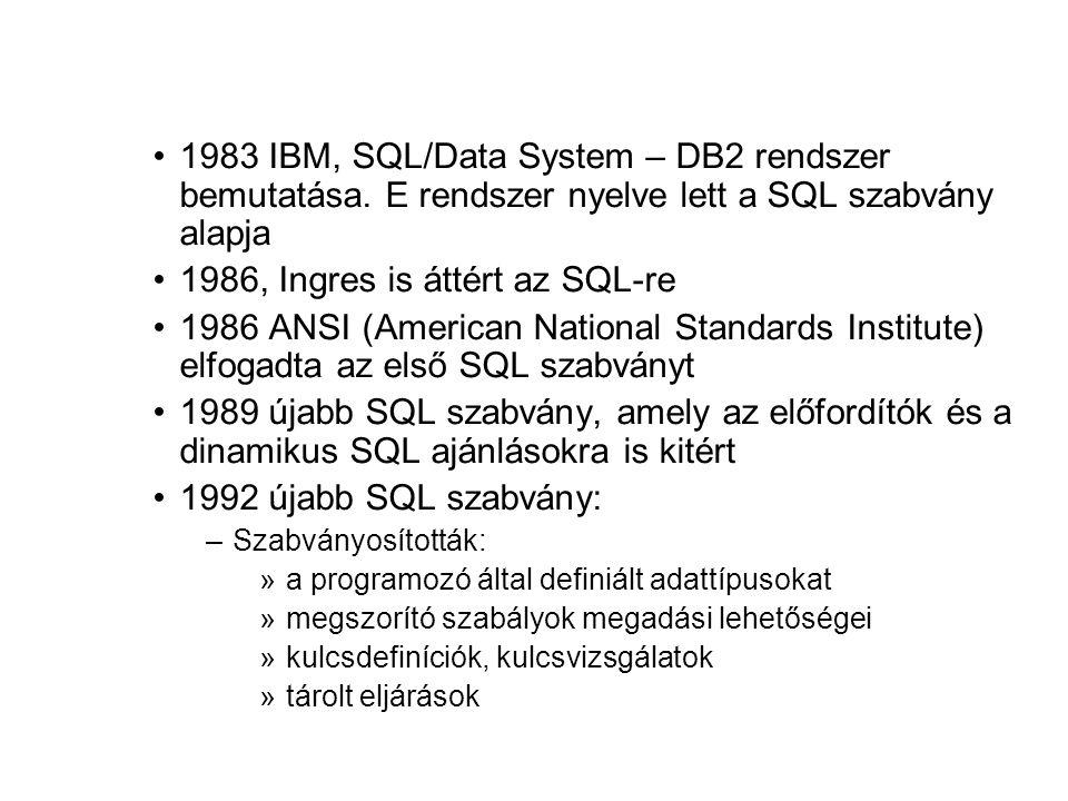 1983 IBM, SQL/Data System – DB2 rendszer bemutatása. E rendszer nyelve lett a SQL szabvány alapja 1986, Ingres is áttért az SQL-re 1986 ANSI (American