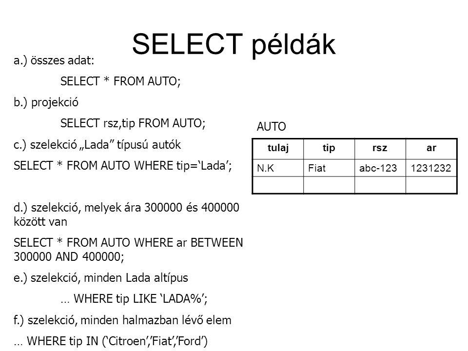 """SELECT példák tulajtiprszar N.KFiatabc-1231231232 a.) összes adat: SELECT * FROM AUTO; b.) projekció SELECT rsz,tip FROM AUTO; c.) szelekció """"Lada"""" tí"""