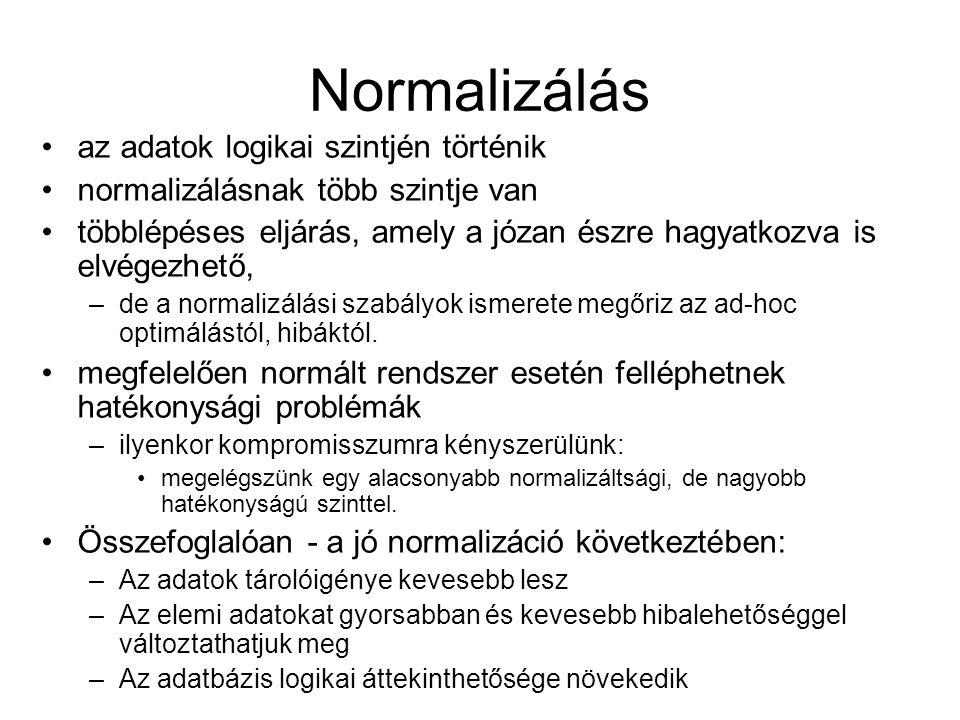 Normalizálás az adatok logikai szintjén történik normalizálásnak több szintje van többlépéses eljárás, amely a józan észre hagyatkozva is elvégezhető,