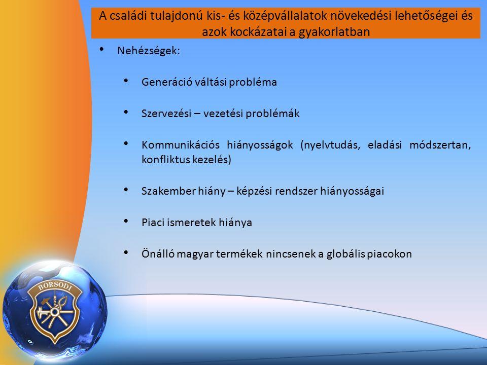A családi tulajdonú kis- és középvállalatok növekedési lehetőségei és azok kockázatai a gyakorlatban Nehézségek: Generáció váltási probléma Szervezési – vezetési problémák Kommunikációs hiányosságok (nyelvtudás, eladási módszertan, konfliktus kezelés) Szakember hiány – képzési rendszer hiányosságai Piaci ismeretek hiánya Önálló magyar termékek nincsenek a globális piacokon