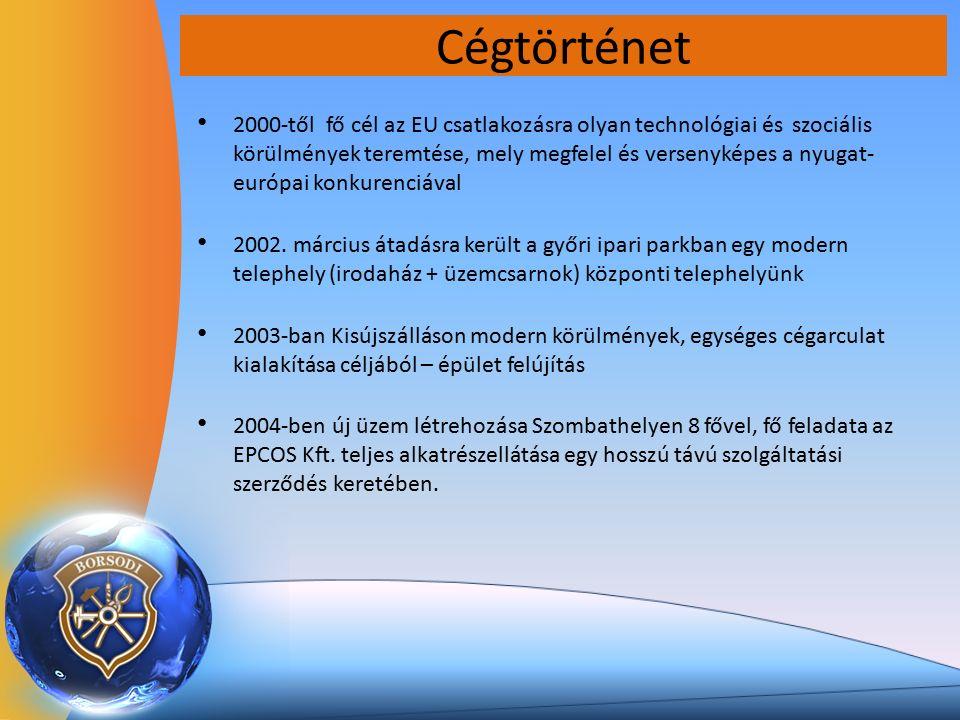 Cégtörténet 2000-től fő cél az EU csatlakozásra olyan technológiai és szociális körülmények teremtése, mely megfelel és versenyképes a nyugat- európai konkurenciával 2002.