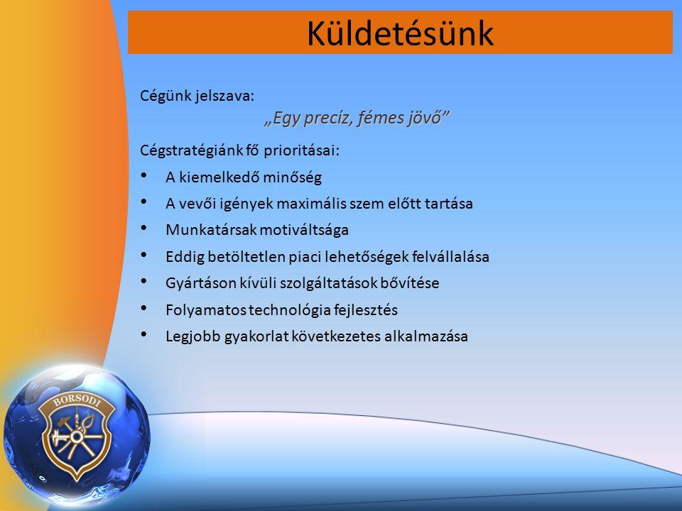 """Küldetésünk Cégünk jelszava: """"Egy precíz, fémes jövő Cégstratégiánk fő prioritásai: A kiemelkedő minőség A vevői igények maximális szem előtt tartása Munkatársak motiváltsága Eddig betöltetlen piaci lehetőségek felvállalása Gyártáson kívüli szolgáltatások bővítése Folyamatos technológia fejlesztés Legjobb gyakorlat következetes alkalmazása"""