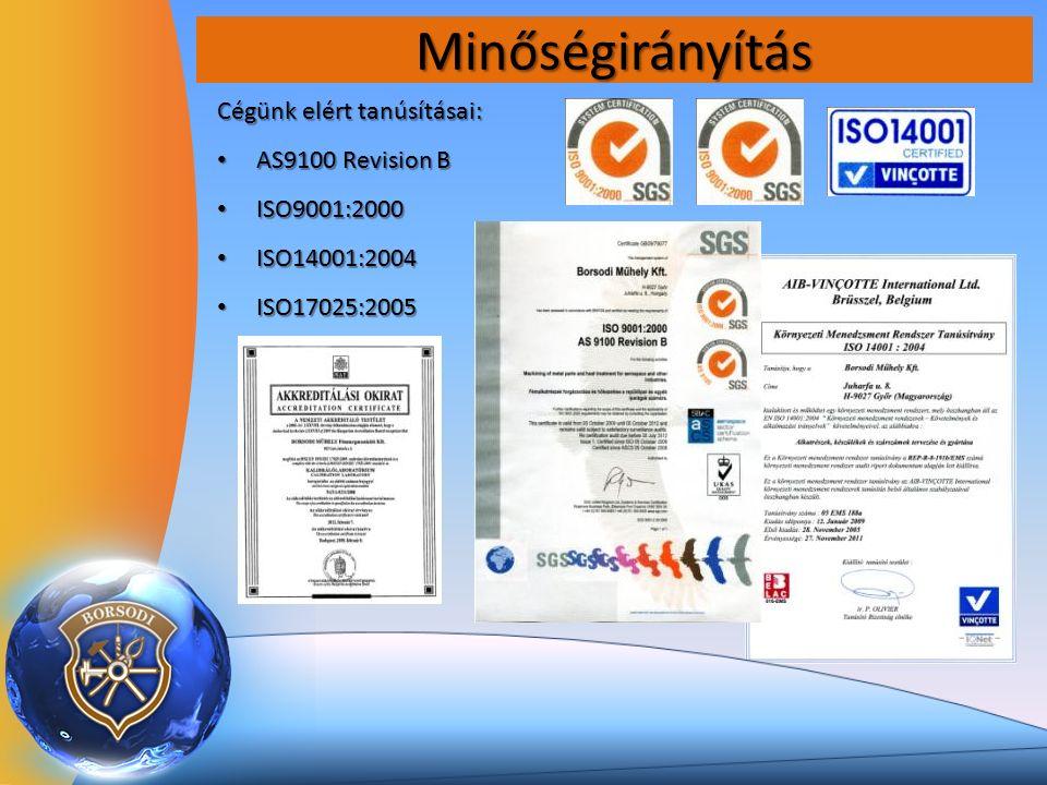 Minőségirányítás Cégünk elért tanúsításai: AS9100 Revision B AS9100 Revision B ISO9001:2000 ISO9001:2000 ISO14001:2004 ISO14001:2004 ISO17025:2005 ISO17025:2005