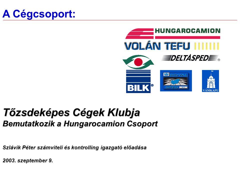 A Cégcsoport: Tőzsdeképes Cégek Klubja Bemutatkozik a Hungarocamion Csoport Szlávik Péter számviteli és kontrolling igazgató előadása 2003.