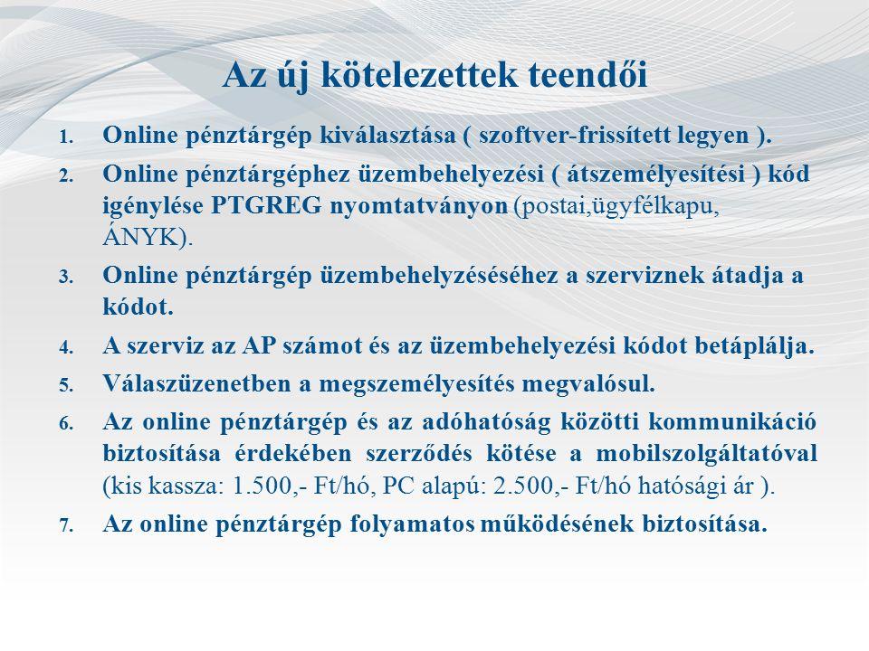 Az új kötelezettek teendői 1. Online pénztárgép kiválasztása ( szoftver-frissített legyen ).