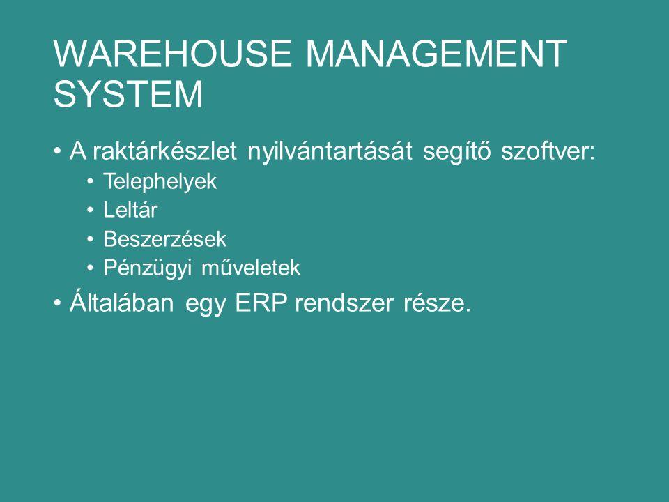 WAREHOUSE MANAGEMENT SYSTEM A raktárkészlet nyilvántartását segítő szoftver: Telephelyek Leltár Beszerzések Pénzügyi műveletek Általában egy ERP rendszer része.