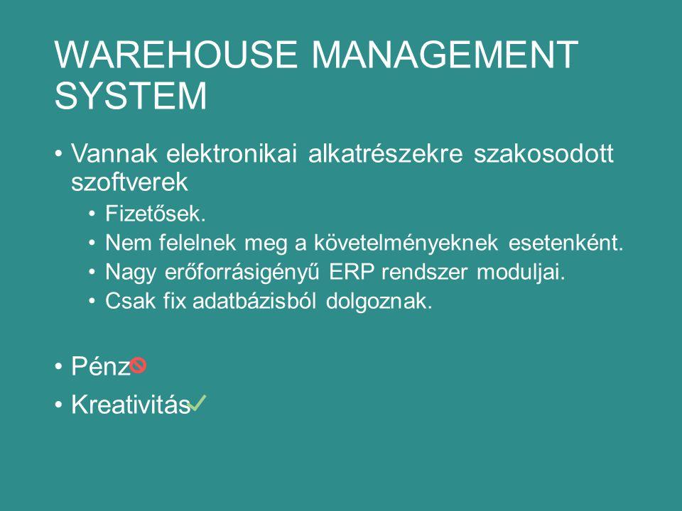 WAREHOUSE MANAGEMENT SYSTEM Vannak elektronikai alkatrészekre szakosodott szoftverek Fizetősek.